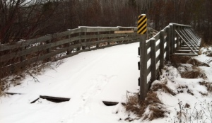 This is the last winter picture of the old faithful bridge at Whalen Creek!We have a real project to get it removed......